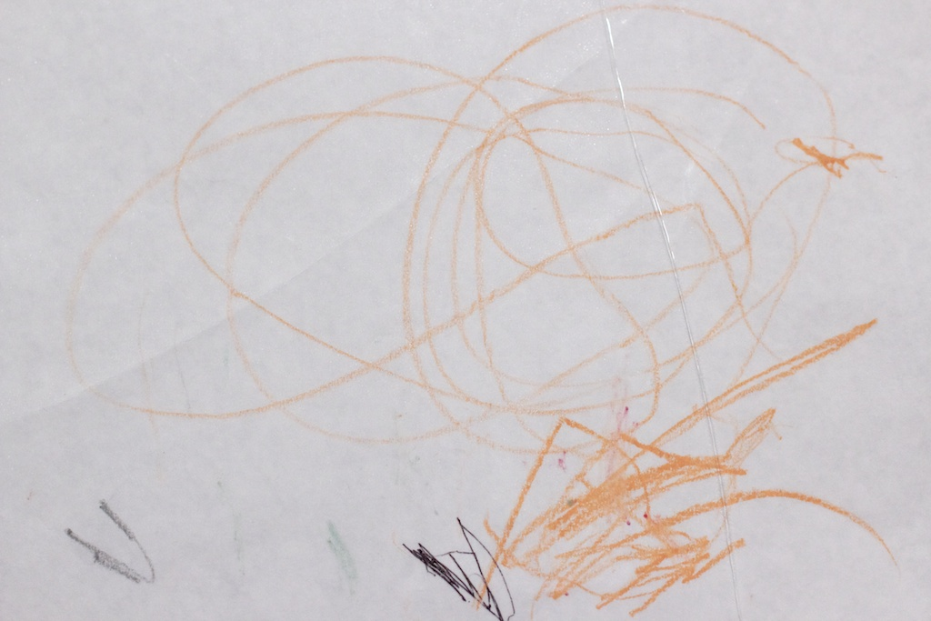 "Here's a drawing made by our then-two-year-old niece, Emily. When we asked her what it was a picture of, she said ""A bottom."" When we asked her whose bottom, she said ""My Daddy's bottom."" So now we all know what her Daddy's bottom looks like. Also, this photo just became NSFW."