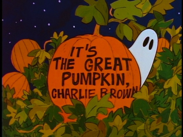 "MOM + DAD: It says ""It's the Great Pumpkin, Charlie Brown!"" SAMMY: I know that."